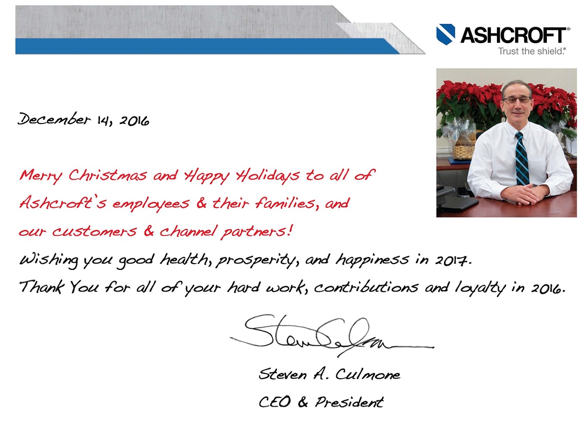 Holiday Greeting From Ashcroft Ceo President Steve